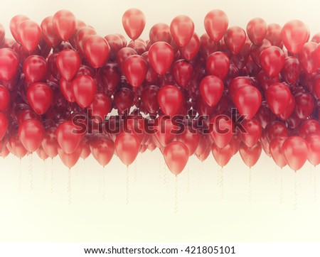Background of red balloons. Celebration and birthday image, 3d render - stock photo