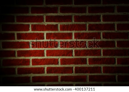 Background of red brick wall, close up