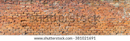 Background of red brick wall pattern texture. High resolution panorama. - stock photo