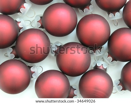 background of red Christmas tree ornaments - stock photo