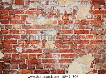 background of red old brick wall - stock photo