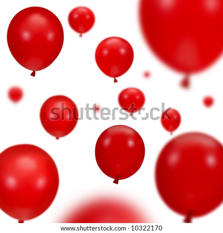 Background of red party balloons - stock photo