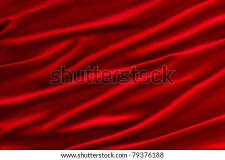 Background of red velvet fabric - stock photo