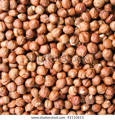 Background of ripe brown hazelnuts