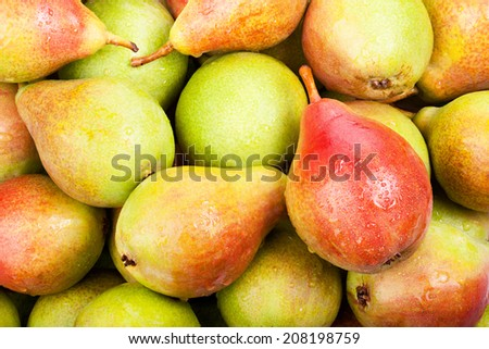 background of ripe juicy pears for your design - stock photo