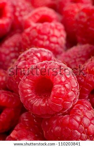Background of ripe red raspberries, Close up macro shot - stock photo