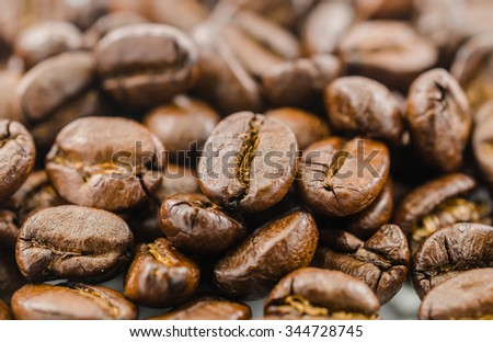 background of roasted coffee beans
