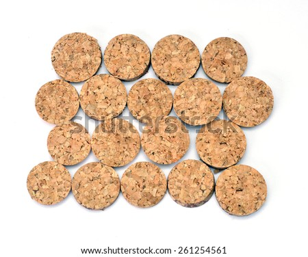 background of round slices wine cork - stock photo