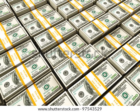 Background of rows of US dollars bundles - stock photo