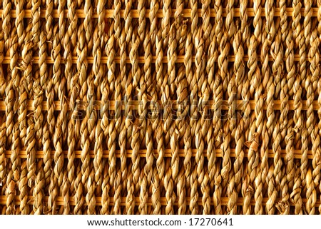 Background of rustic interlaced straw of a handmade craft