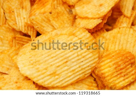 Background of salted potato chips