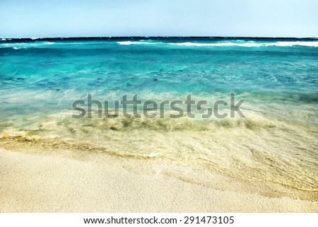 background of sand on the beach - stock photo