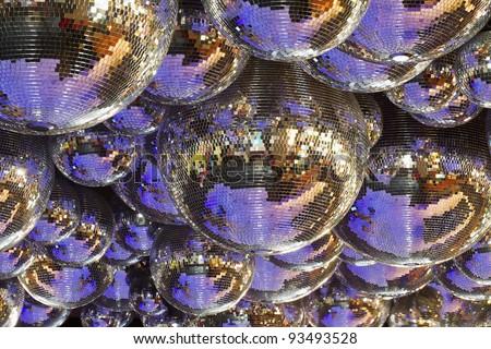 background of several disco balls - stock photo