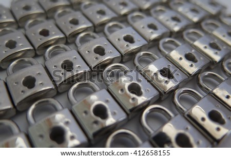 background of small metal locks lined up in a row closeup