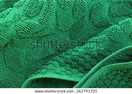 Background of Soft green texture of bath towel folded - stock photo