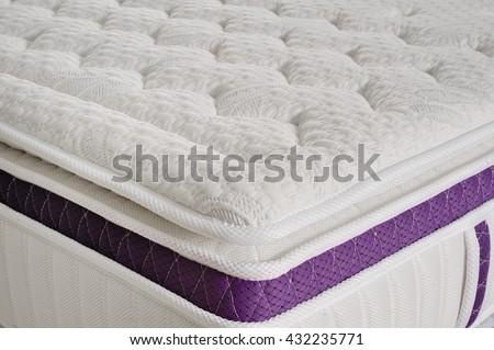 Background of soft white mattress - stock photo