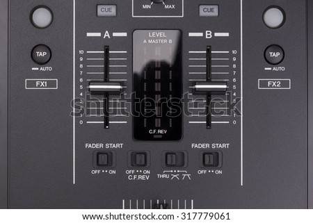 Background of sound mixer controle panel - stock photo