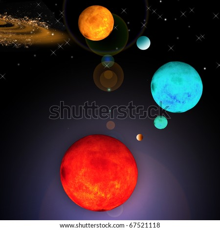 Background of space and planet - stock photo