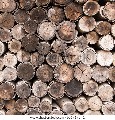 background of stacked timber logs. - stock photo
