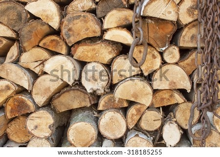Background of stacked wood. Ready firewood. Various kinds of wooden logs stacked on top of each other. Stack of wood, firewood, background. Dry chopped firewood logs ready for winter.