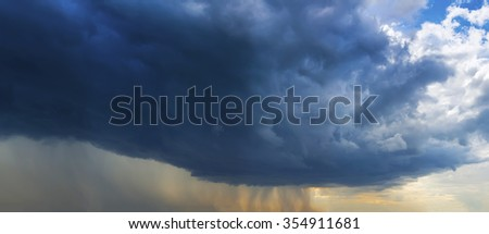 Background of storm clouds with raining