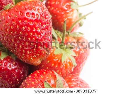 background of strawberry with white space in the right side for text