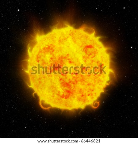 Background of sun and space - stock photo