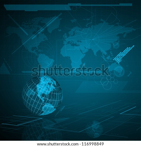 Background of Technology with earth globe. Elements of this image furnished by NASA - stock photo