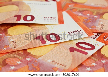 Background of ten euros notes - stock photo