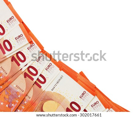 Background of ten euros notes laid in the corner isolated on white - stock photo