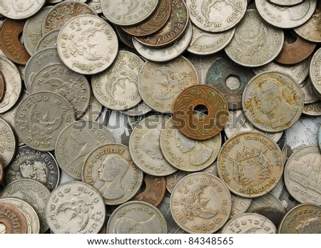 background of Thai Various old coins - stock photo