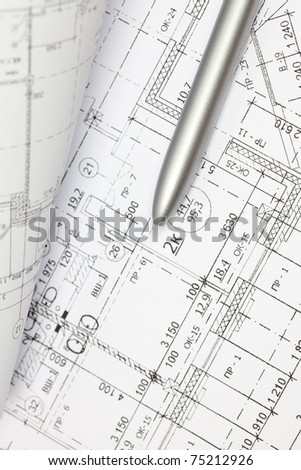 background of the architectural drawings and pen