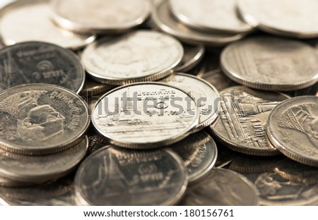 Background of the coins of Thai - stock photo