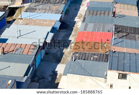 background of the garage roof - stock photo