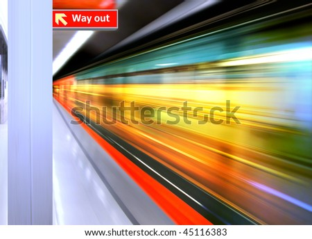 background of the high-speed train with motion blur outdoor - stock photo