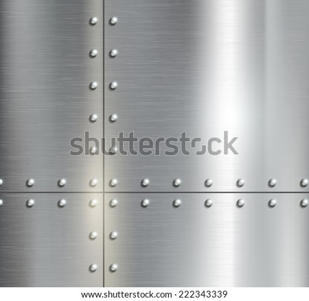 Background of the metal plates with riveted - stock photo