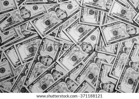 background of the money, five dollar bills front side face. background of dollars, close up, black and white