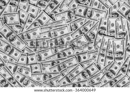 background of the money, hundred dollar bills front side. background of dollars, savings, black and white background of money, become a millionaire  - stock photo