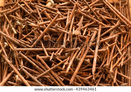Background of the old rusty nails close-up.
