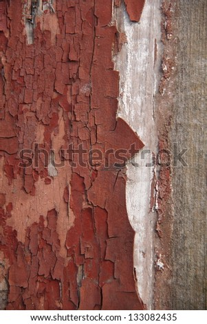 Background of the old wooden bar with cracked brown paint