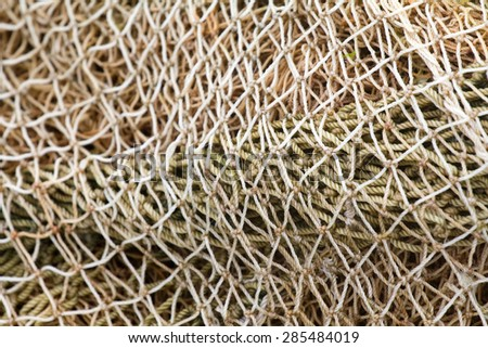 background of the sea  rope fishing net - stock photo