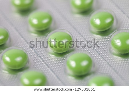 Background of the tablets in blister pack - stock photo