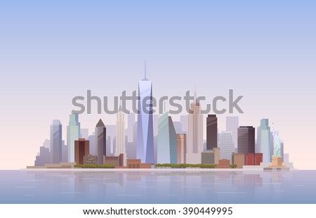 Background of the urban landscape of New York. Cityscape. Skyline. Flat design. - stock photo