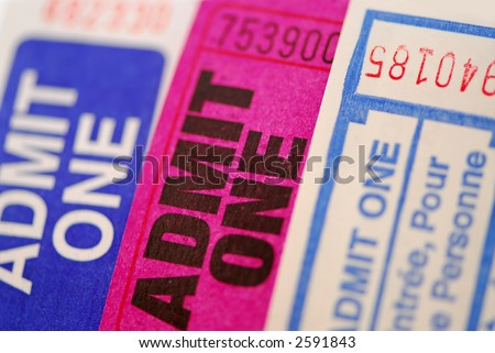 Background of three ruffle tickets close up