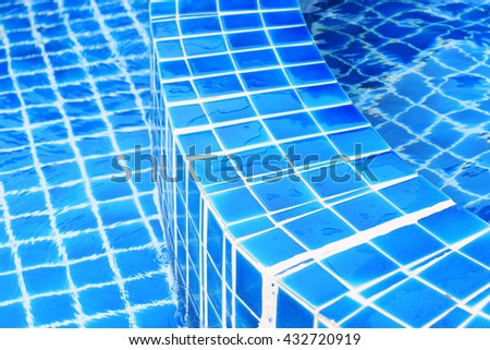 background of tiles in the swimming pool  - stock photo