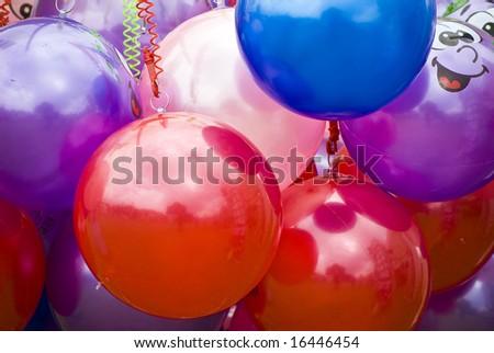 background of toy plastic footballs - stock photo