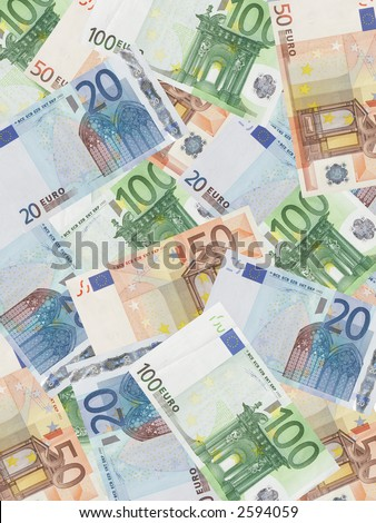 Background of twenty, fifty and one hundred euro banknotes - stock photo