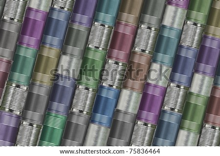 background of variety cans - stock photo