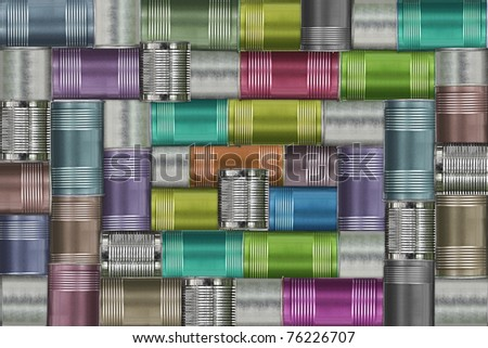 background of variety cans , - stock photo
