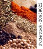 background of various colorful spices - stock photo